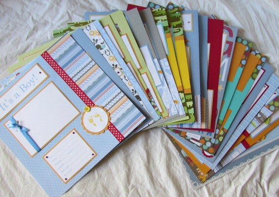 20 BABY BOY Premade Scrapbook Pages For 12x12 FiRsT YeAr ALbUm