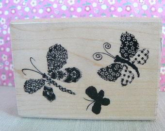 Rubber Stamp with Trio of Butterflies - artsy and fun
