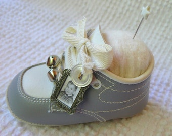 Pin Cushion - Made From a Vintage Blue and White Baby Shoe - Adorable Craft, Sewing Room or Nursery Decor - Sweet Gift