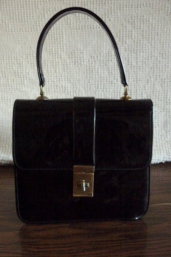 Vintage Black Patent Leather Handbag