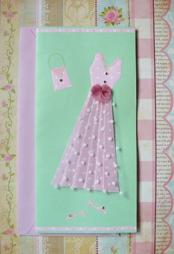 Blank Card with Embelished Pink Dress- great for Mom or Friend- any occasion