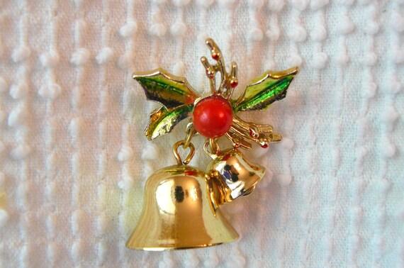 Vintage Christmas Ringing Bell Brooch