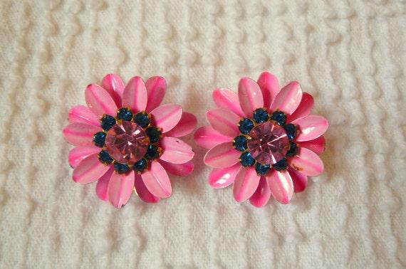 Vintage Bright Pink Enamel & Rhinestone Clip On Earrings-
