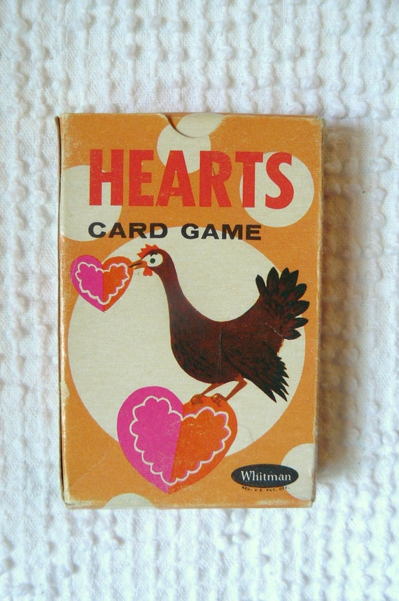"""Vintage Children's Card Game in Box """"Hearts""""- great vintage images"""