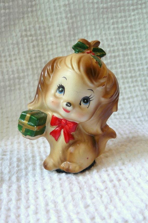 Vintage Christmas Puppy Figurine- sweet