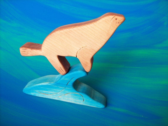 Kids Wood Toy, California Sea Lion, Waldorf Inspired Wooden Toys - comes with a pretty wave to play on