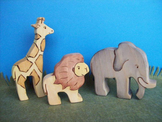Waldorf Inspired Wooden Nature Toys - African Animals