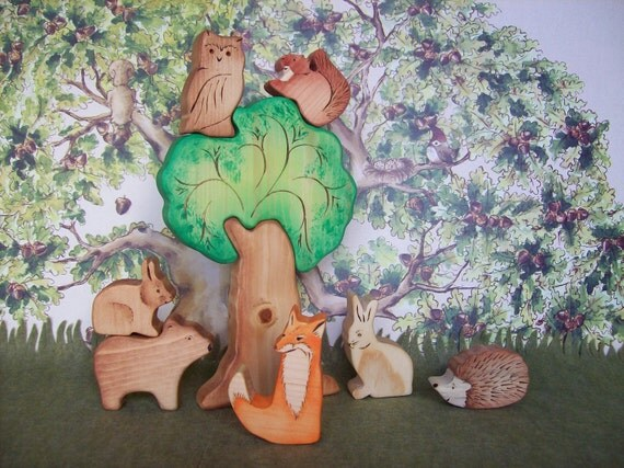 Waldorf Inspired Wood Toys - Forest Animals with Large puzzle Tree -  9 Piece Set