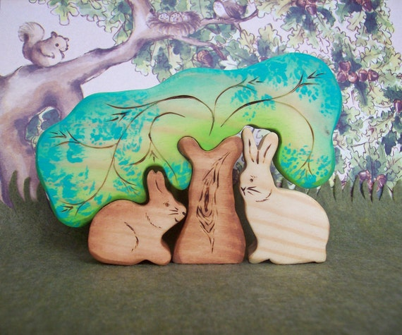 Waldorf Inspired Wooden Nature Toy Puzzle Stacker - Forest Animals - 4 pc set