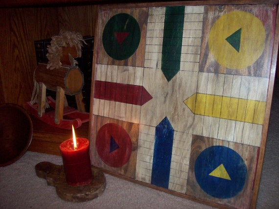 Wood Game Board - Hand Painted Antique Reproduction Parcheesi