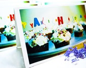 SALE - Happy Birthday Cupcakes with Sprinkles- Glossy Birthday Card or Party Invitation - Blank inside, Ready for you - 5.5 x 8.5