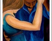 Slow Dance - Interracial Couple - Mini Art Print - 5.5 x 8.5 Velvet Matte, Vibrant Print, Mixed, Biracial, love, dancing