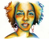 African American Woman Art Print - Sultry Rustic Yellow