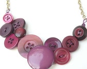 Berry Berry Vintage Button Necklace