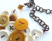 Mustard Yellow and White Upcycled Vintage Button Necklace