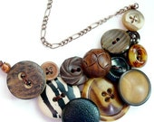 Safari Animal Prints and Pattens Upcycled Vintage Button Necklace  - Browns and Blacks