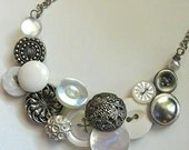White and Silver Tone Large Vintage Button Statement Necklace