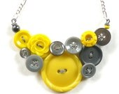 Yellow and Gray Vintage Button Statement Necklace- Cute, Bright, Bold Jewelry