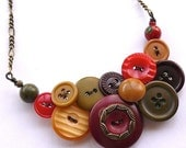 Tuscan Colors Vintage Button Large Statement Necklace in Red, Deep Red, Golden Yellow, and Olive Green