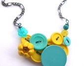 Bright Jewelry- Fun Funky Aqua Blue Teal and Yellow Vintage Button Necklace
