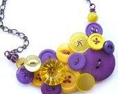 Violet Purples and Yellows Button Necklace - Complimentary Colors