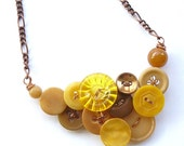 Vintage Button Necklace in Mustard Yellow and Copper
