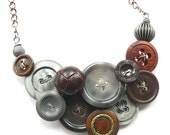 Fashion Statement Necklace - Charcoal Gray and Rusty Brown Vintage Button Necklace - Mixed Media and Textures