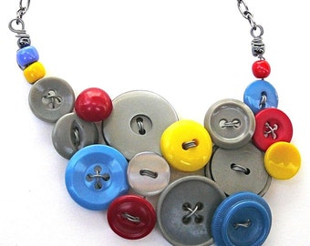 Primary Colors and Gray Vintage Button Statement Jewelry Necklace, Upcycled and Repurposed