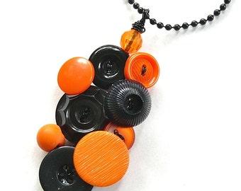 Orange and Black Halloween Button Pendant Necklace