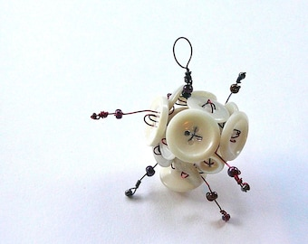 White Vintage Button Cluster Ornament with Magenta and Violet Beads on Wire - Funky and Whimsical