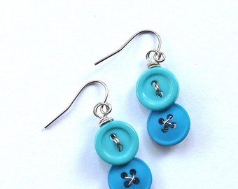 Blue Vintage Button Dangle Earrings - Bright Jewelry for a pop of color
