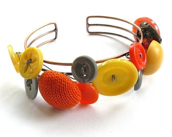 Orange Yellow and Gray Button Jewelry Cuff Bracelet