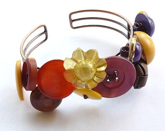 Orange, Brown, Violet, and Yellow Flower Button Cuff Bracelet