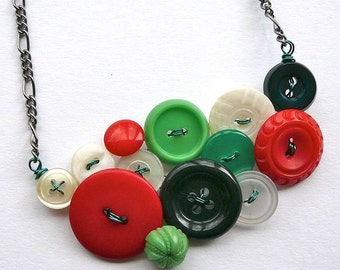 Red, Green, and White Christmas Vintage Button Statement Necklace