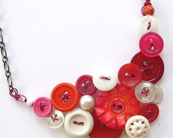 Pomegranate Pink and White Vintage Button Statement Necklace