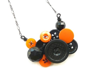 Halloween Orange and Black Button Necklace