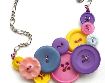 Bright Colorful Vintage Button Statement Necklace in pink, blue, yellow, purple