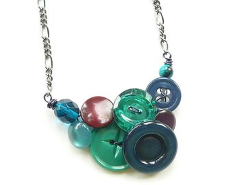 Small Jewel Tones Button Necklace in cool colors with emerald green