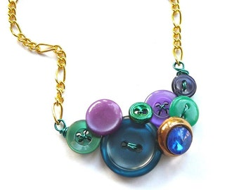 Cool Little Jewel Fashion Vintage Button Necklace with Purple, Blue, and Kelly Green