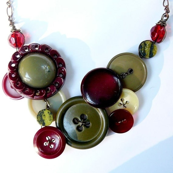 Pimento Olive Button and Bead Necklace