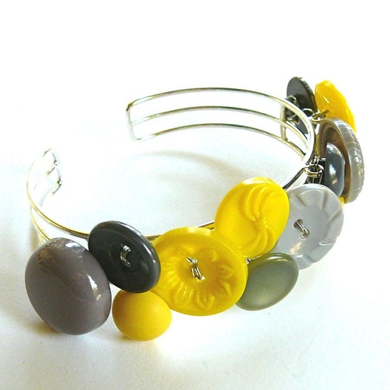Yellow and Gray Vintage Button Cuff Bracelet -Fun Jewelry