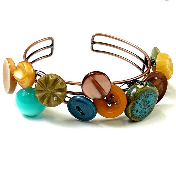 Earthy Aqua Vintage Button Cuff Bracelet -Aqua and Browns- Free Shipping Sale