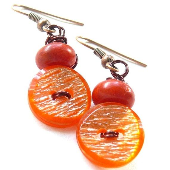 Orange Shimmer Vintage Button Earrings -- Retro