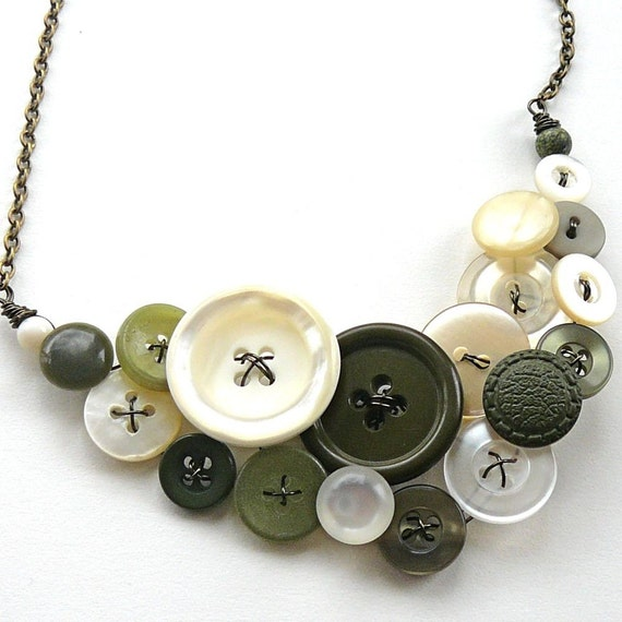 Statement Necklace Vintage Button Jewelry - Pistachio Green and Natural White