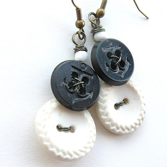 Nautical Anchor Vintage Button Earrings Black and White