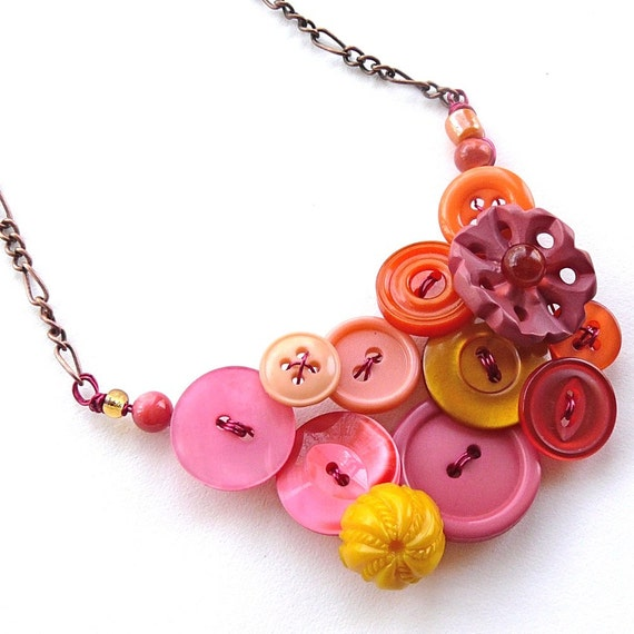 Warm Colors Vintage Button Large Statement Necklace