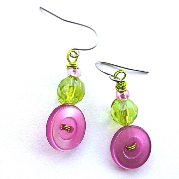 Bright Pink and Lime Green Vintage Button Earrings