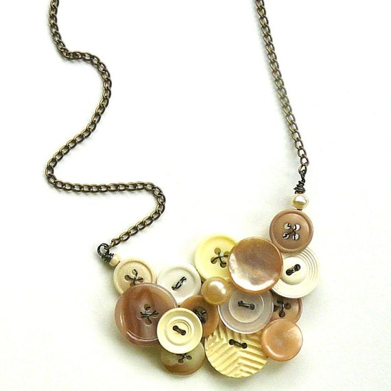 White and Natural Vintage Button Jewelry Statement Necklace - Nude Neutral Tones