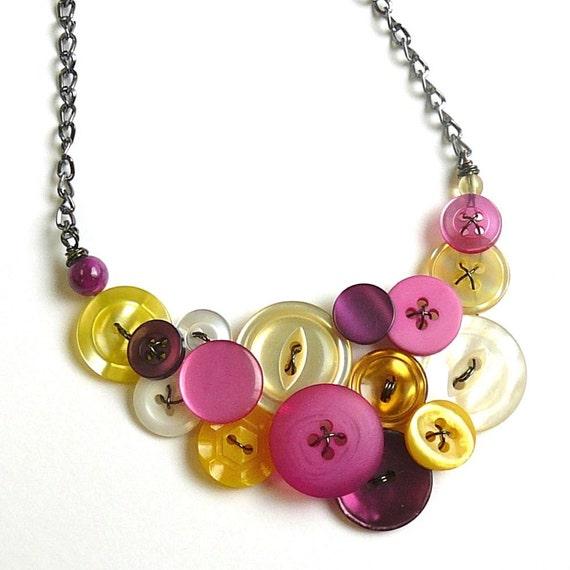 Bright Garden Vintage Button Statement Necklace in pink, white, yellow, purple