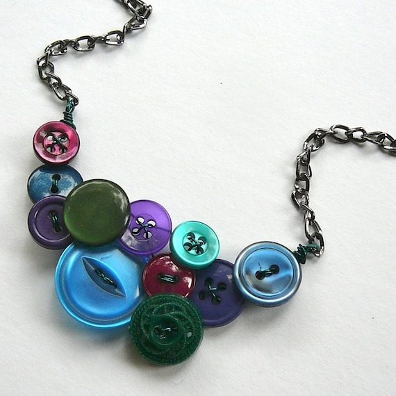 Jewel Tones Vintage Button Necklace: Shades of green, blue, purple, and cranberry -Black Friday Cyber Monday Free Shipping Sale